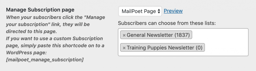 Manage subscription text.