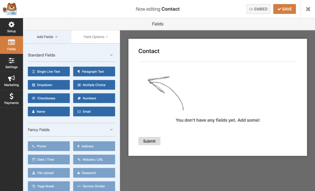 WP forms contact form builder.
