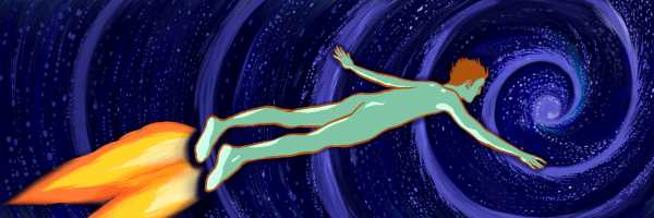 A man flying through space with flames coming out of his feet