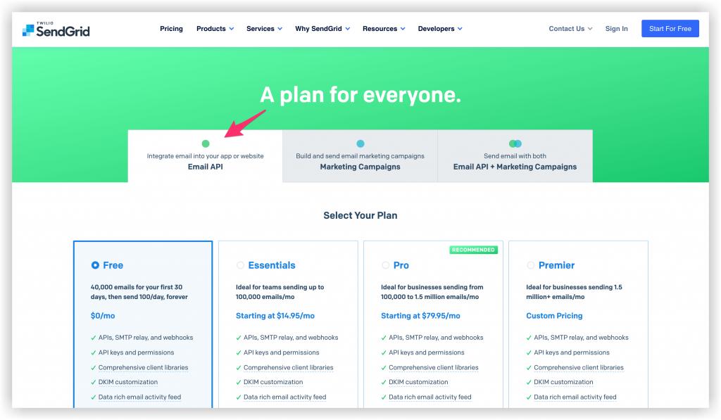 screenshot of sendgrid free plans