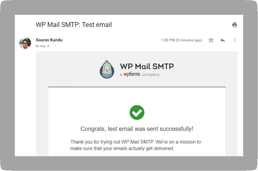 WP Mail SMTP test email sent via SendGrid