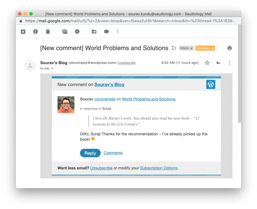 screenshot of comment notification email jetpack