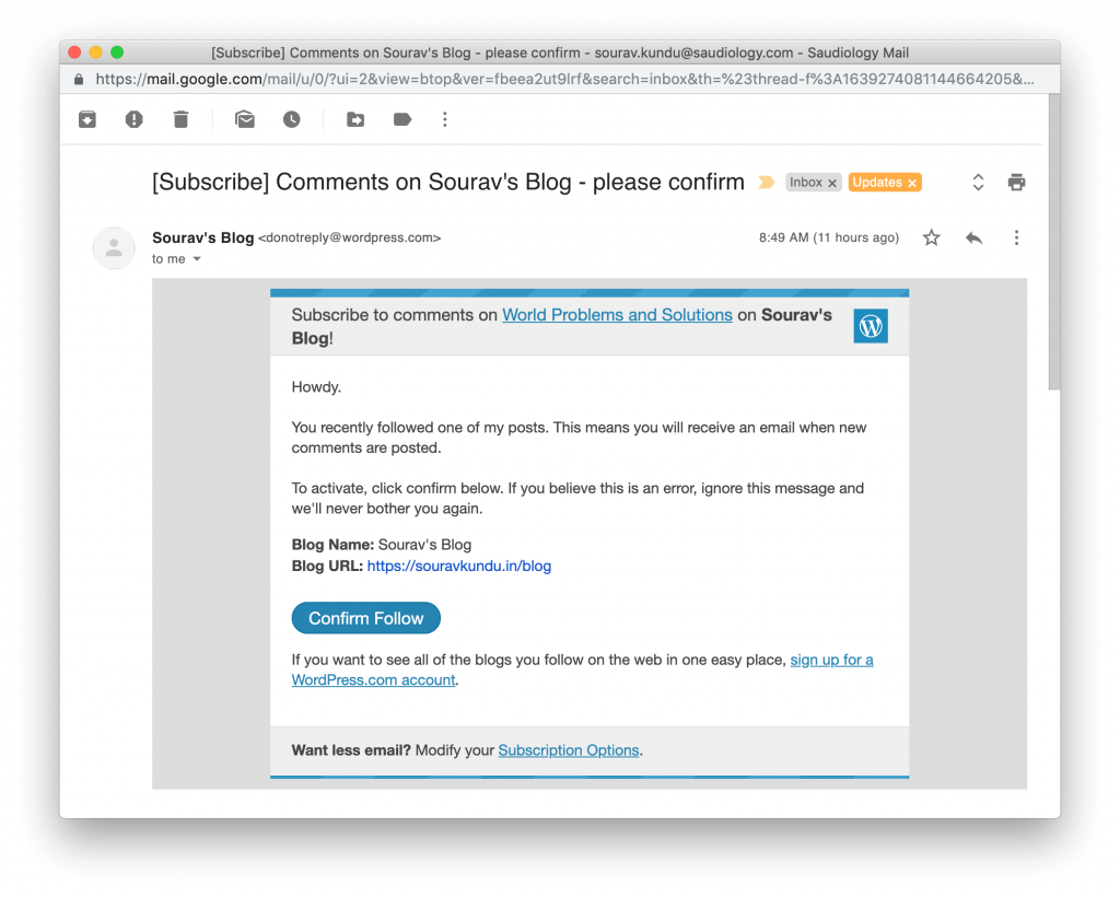 screenshot of double-optin confirmation for comment subscription