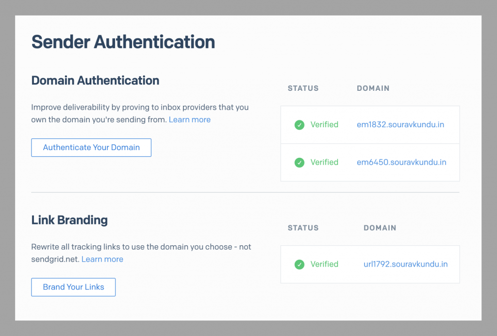 SendGrid domain authentication and link branding.