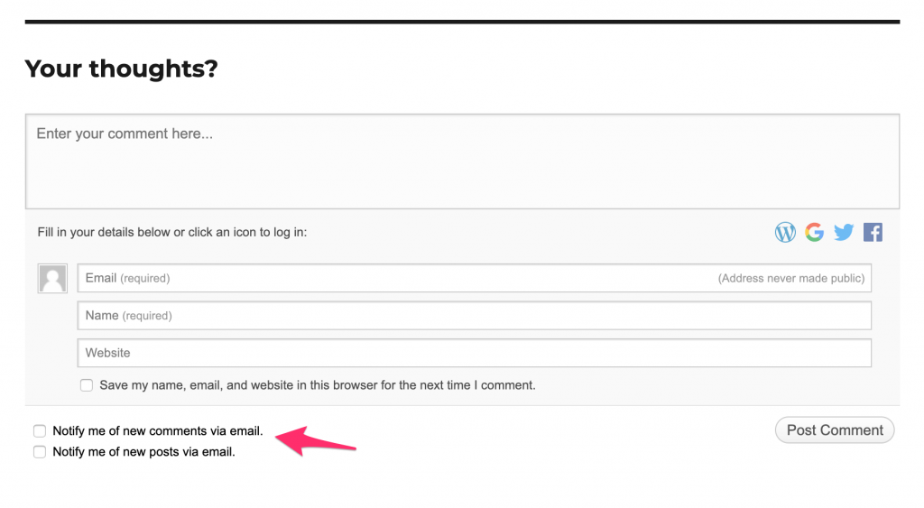 "Example of the comment form created by Jetpack's ""Subscription"" module"