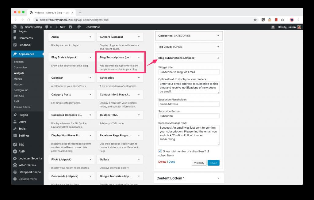 How to add Jetpack's Blog Subscription widget in WordPress