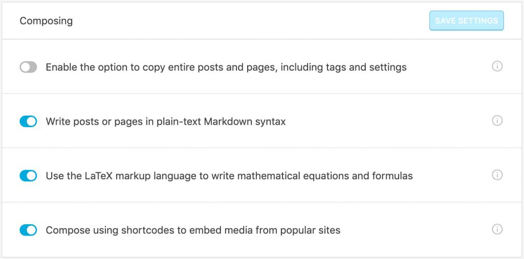 """screenshot of """"Composing"""" settings in Jetpack"""