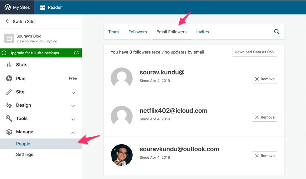 screenshot of Jetpack's subscriber management dashboard in WordPress.com
