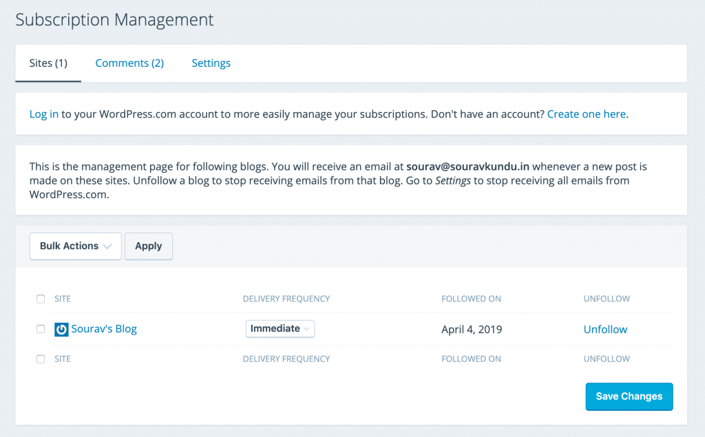 screenshot of Email preferences management dashboard for subscribers