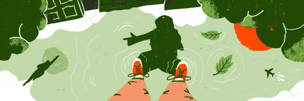 Illustration of man standing over puddle with reflection.
