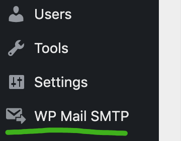 screenshot of highlighted admin menu item for WP Mail SMTP.