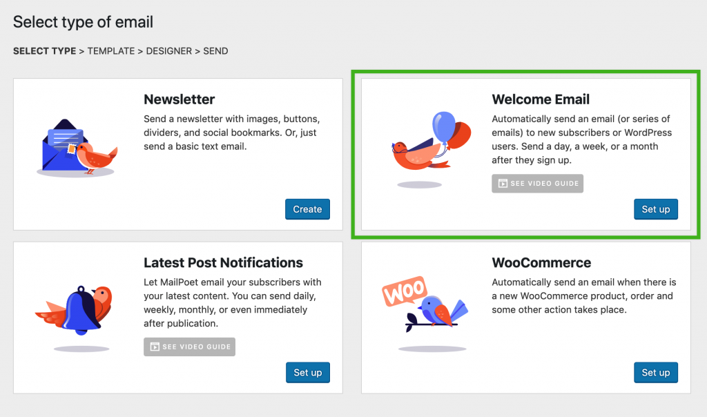 Select autoresponder or Welcome Email in the WordPress admin