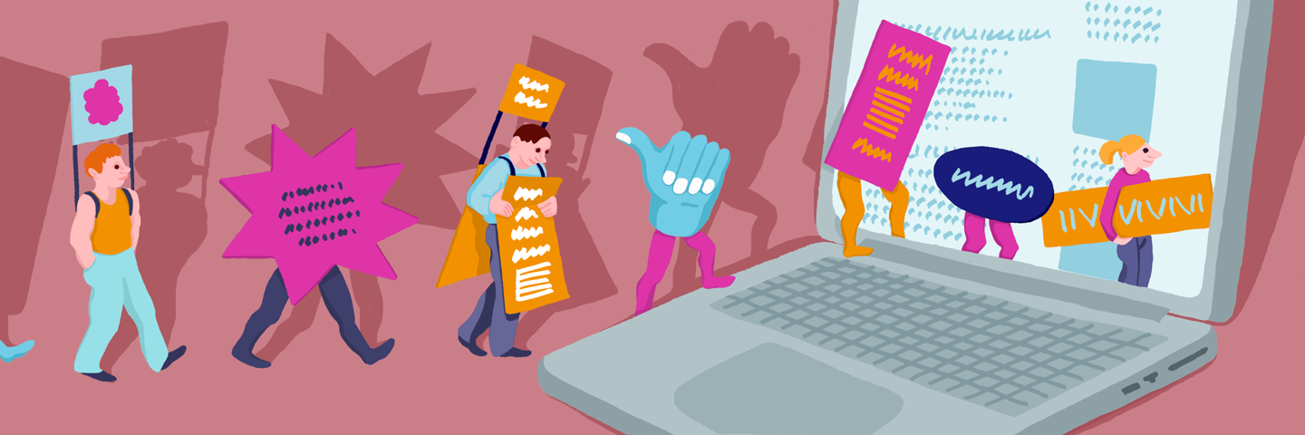 Illustration of people and ads walking into a computer