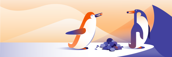 Illustration of two penguins and logs