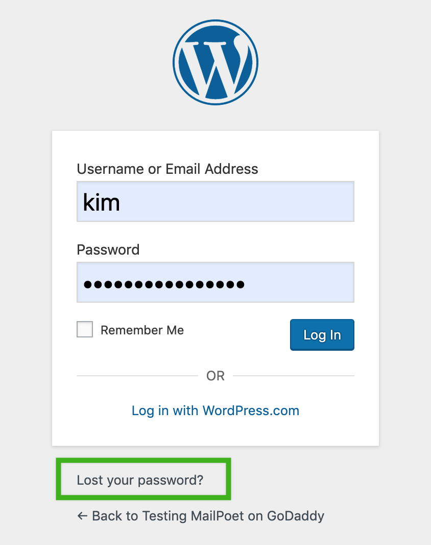 Lost password form for WordPress