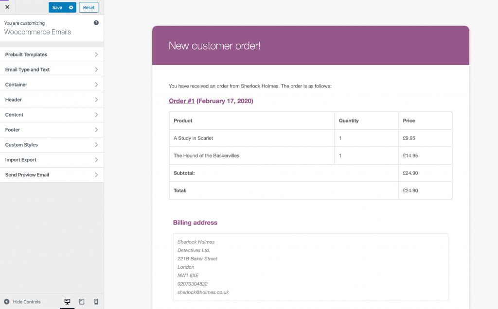 Screenshot of the Kadence WooCommerce Email Designer plugin
