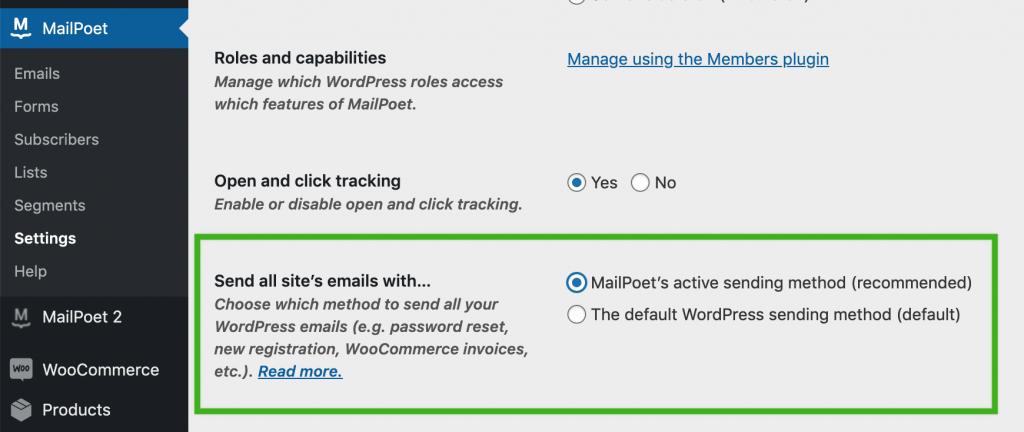 Send transactional emails setting