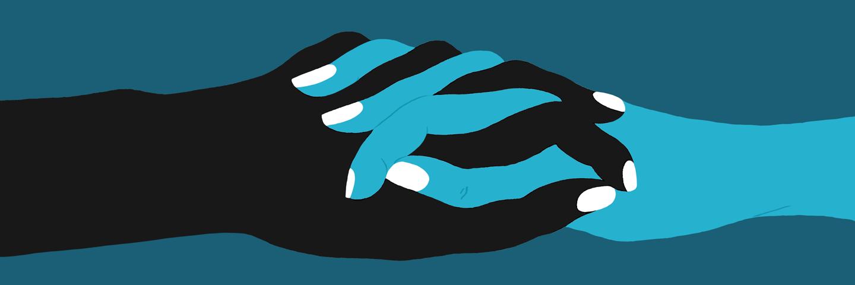 Illustration of holding hands
