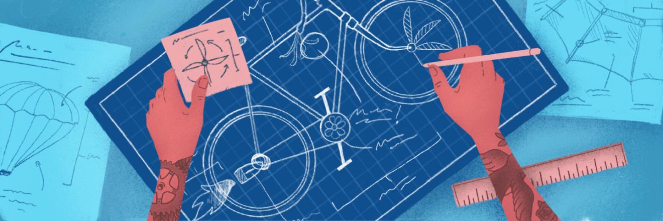illustration of custom bike blueprints