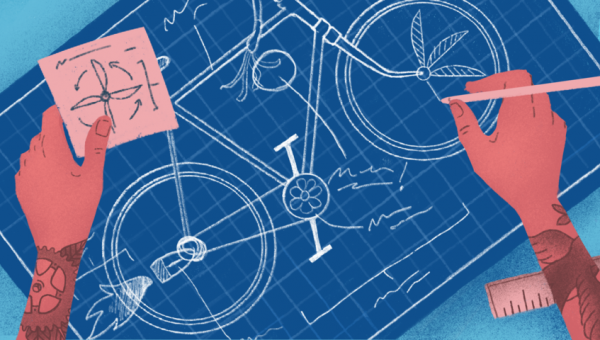 illustration of custom bike blueprints