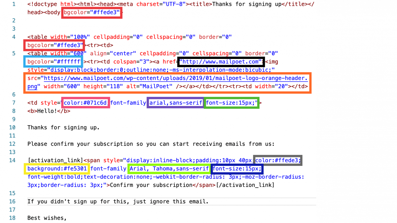 screenshot of signup confirmation code with highlighted areas to edit