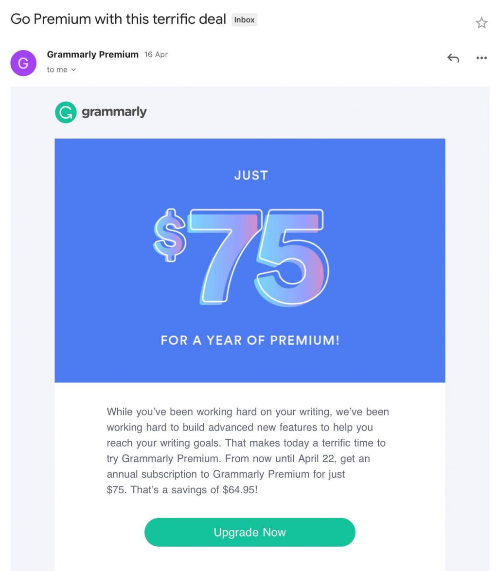 grammarly annual discount reengagement email