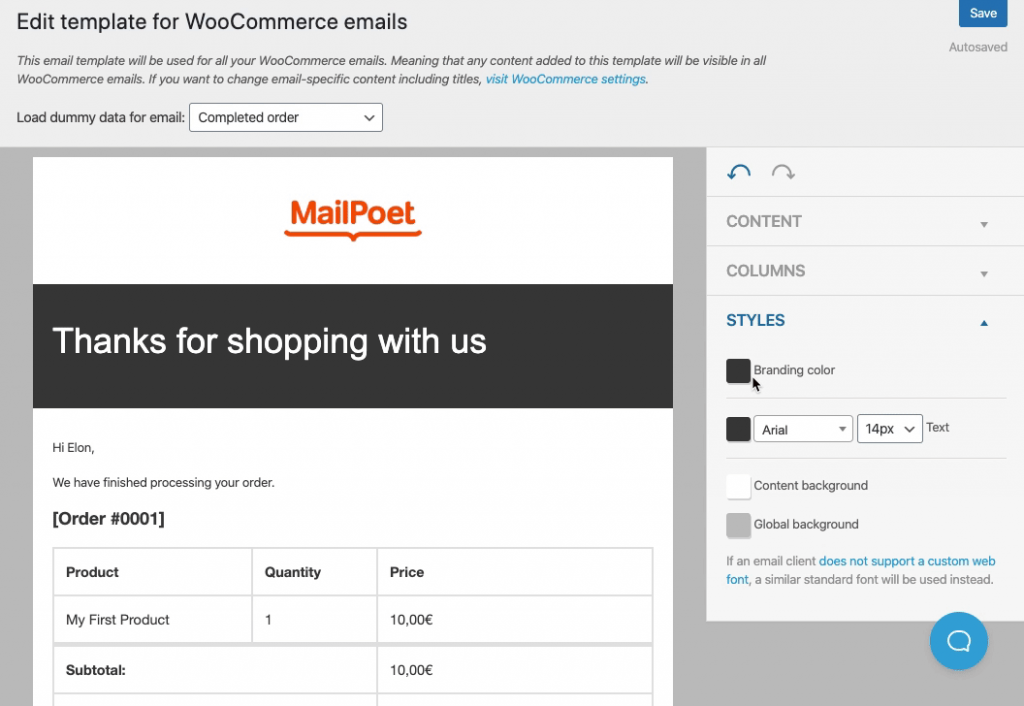 mailpoet woocommerce email template settings