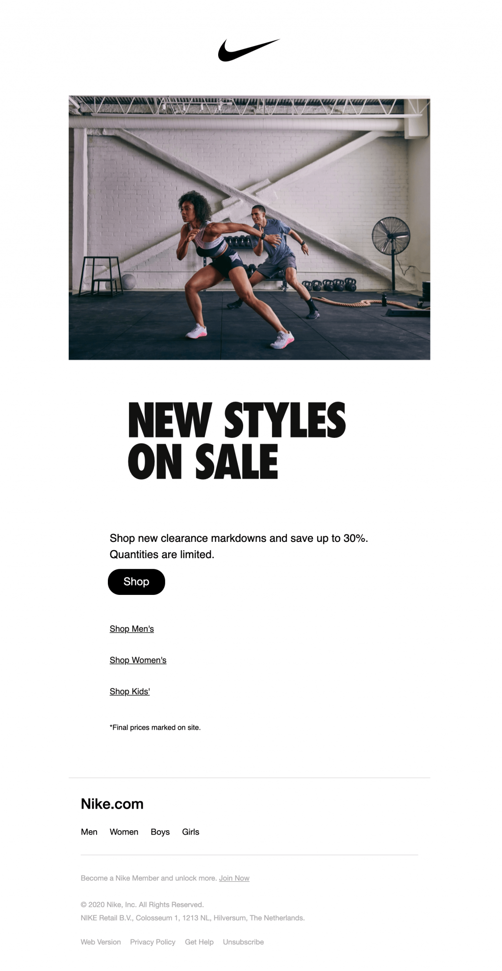 nike stock clearance email