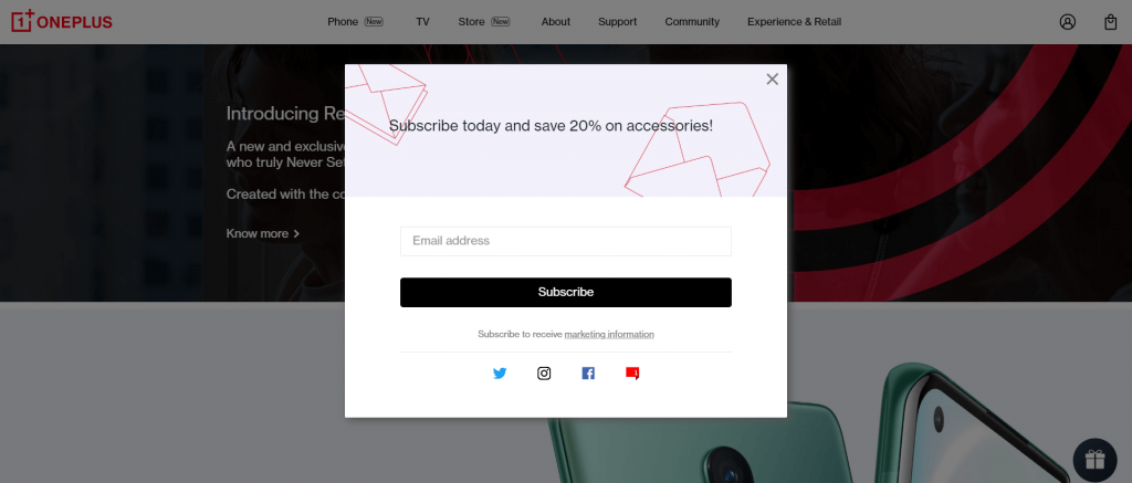oneplus welcome email signup box