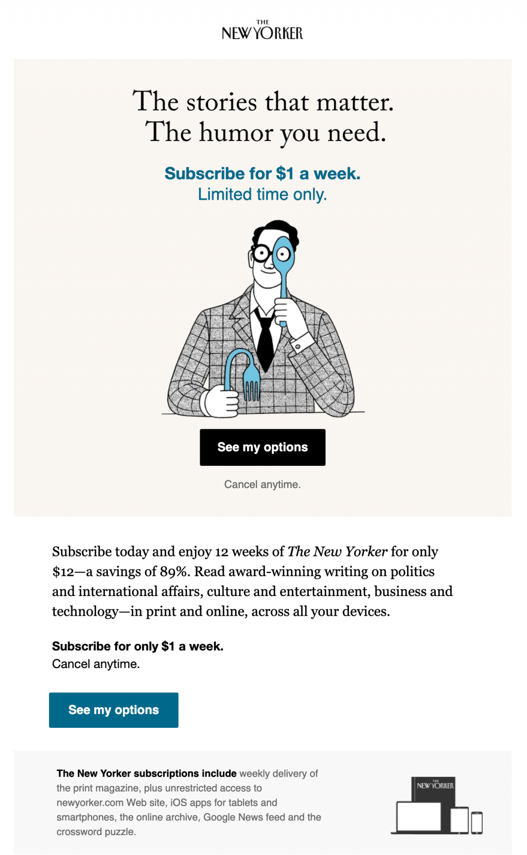 new yorker retention discount email
