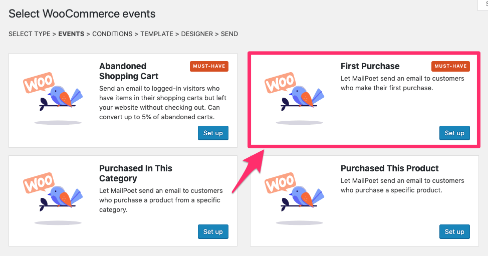 woocommerce email type first purchase mailpoet setting