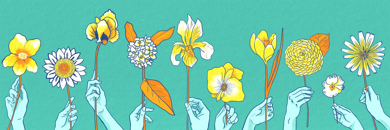 Illustration of 10 hands holding a flower