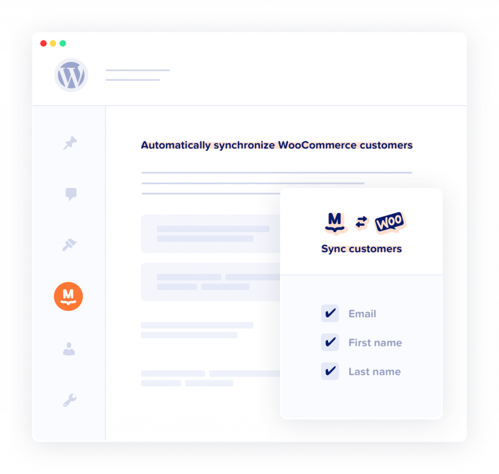 Illustration of the WooCommerce customers list sync