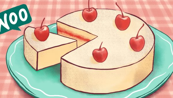 Illustration of a cake with a WooCommerce logo next to it