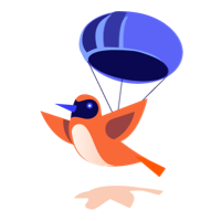 illustration of a bird with a parachute