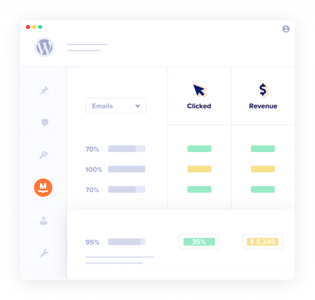 Abbildung des E-Mail-Statistik-Dashboards von MailPoet