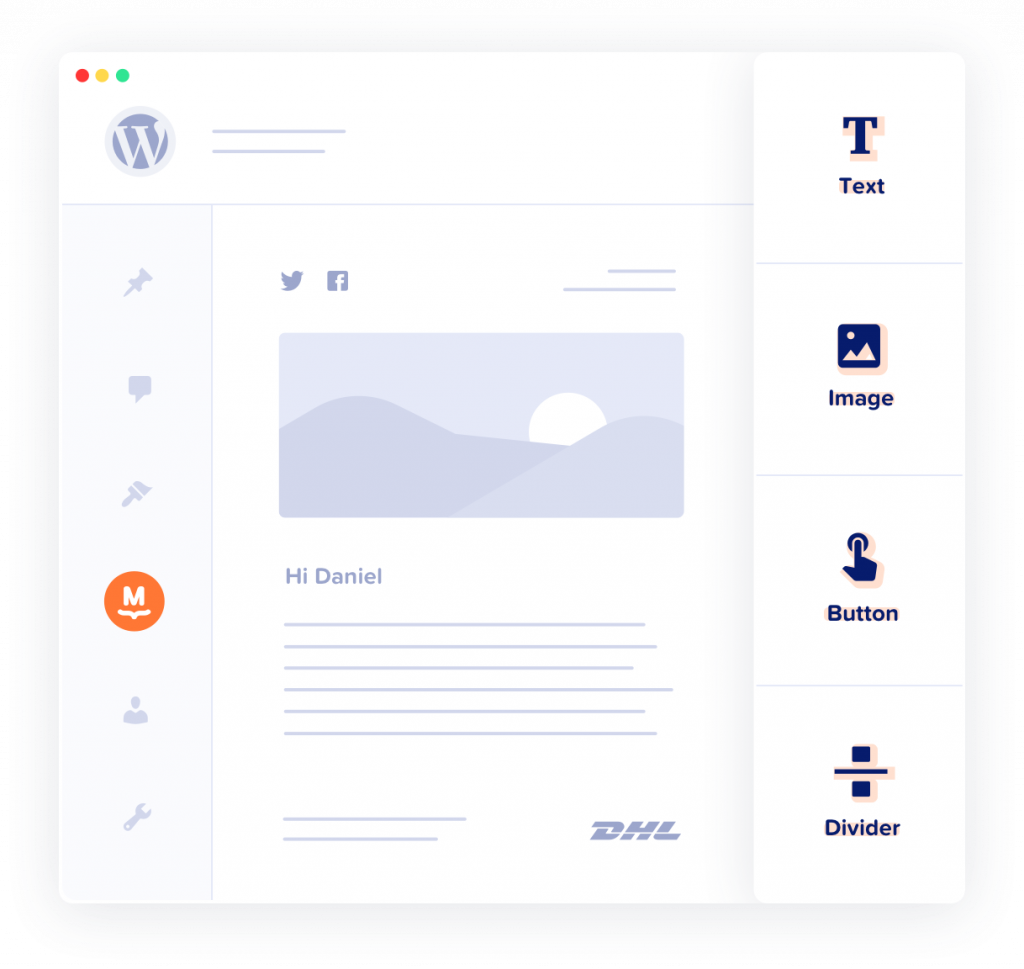 Illustration of MailPoet's WordPress newsletter drag and drop editor