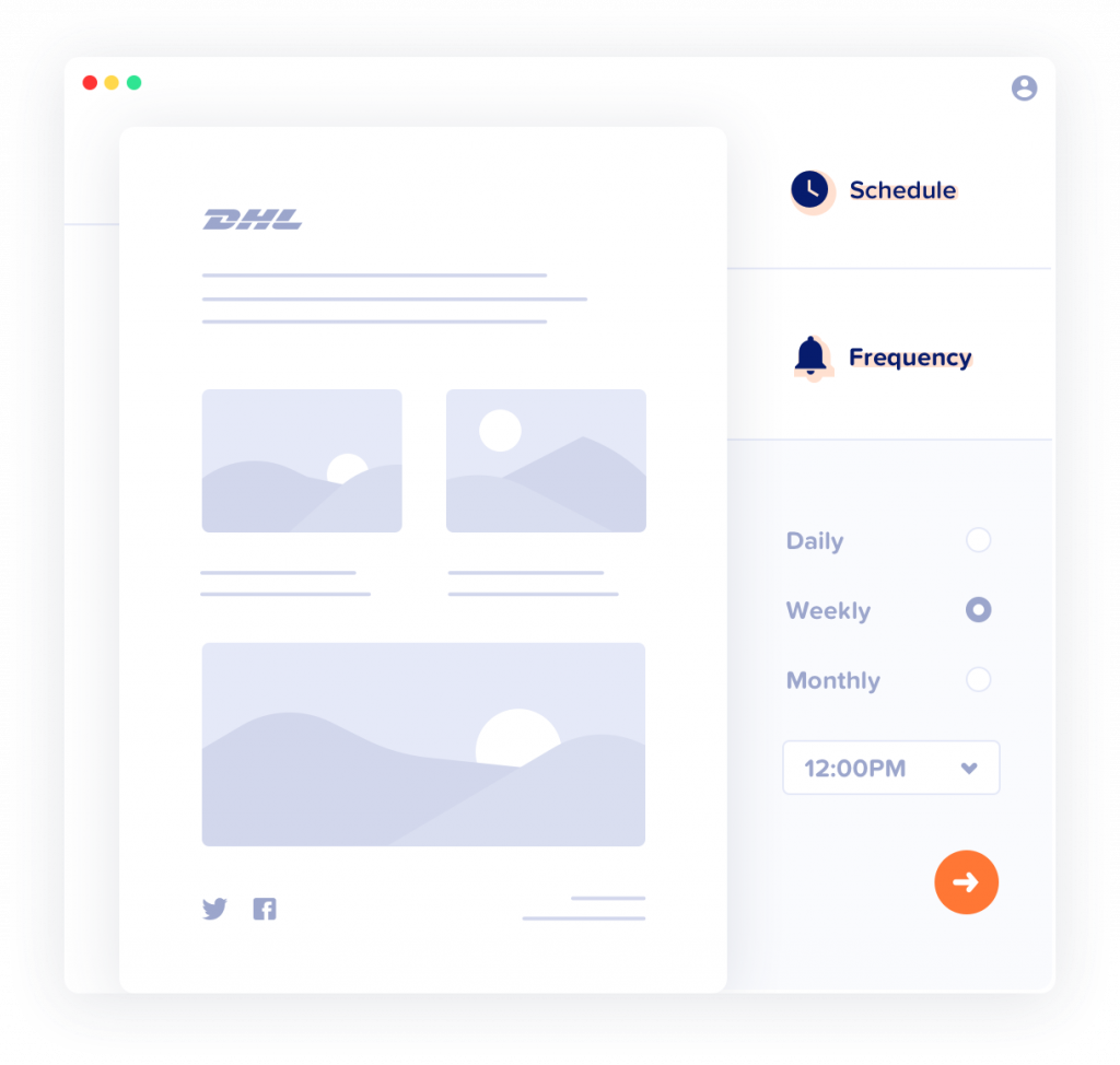 Illustration of MailPoet's email scheduling tool