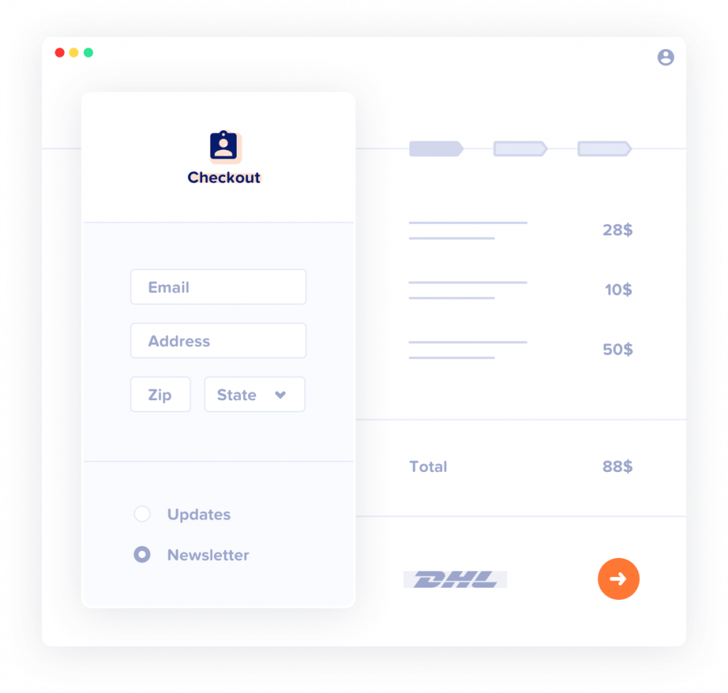 illustration of WooCommerce customers list email sign up