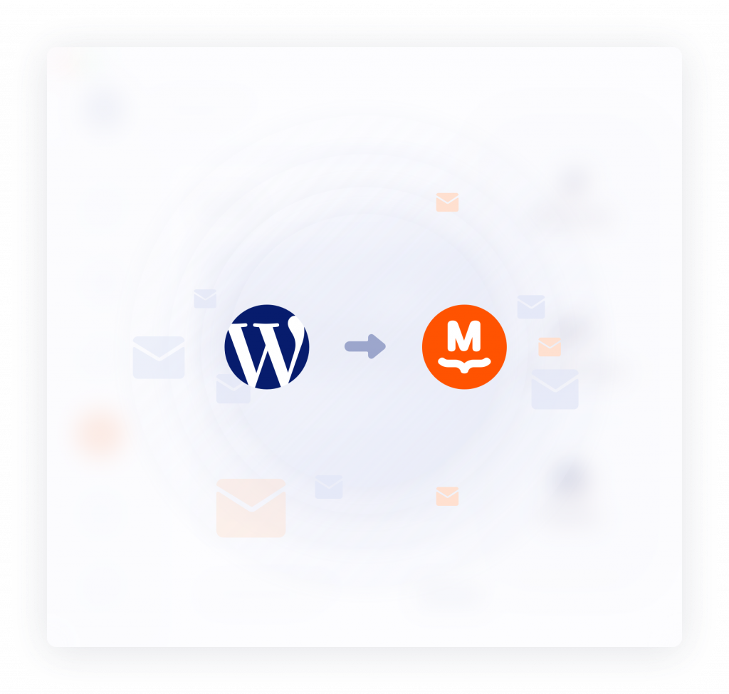 Illustration of WordPress and MailPoet logos