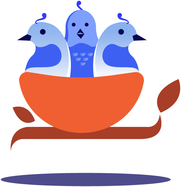 illustration of birds in a nest