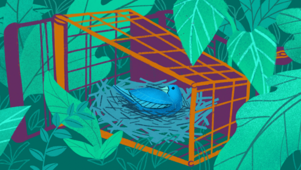 illustration of an abandoned shopping cart