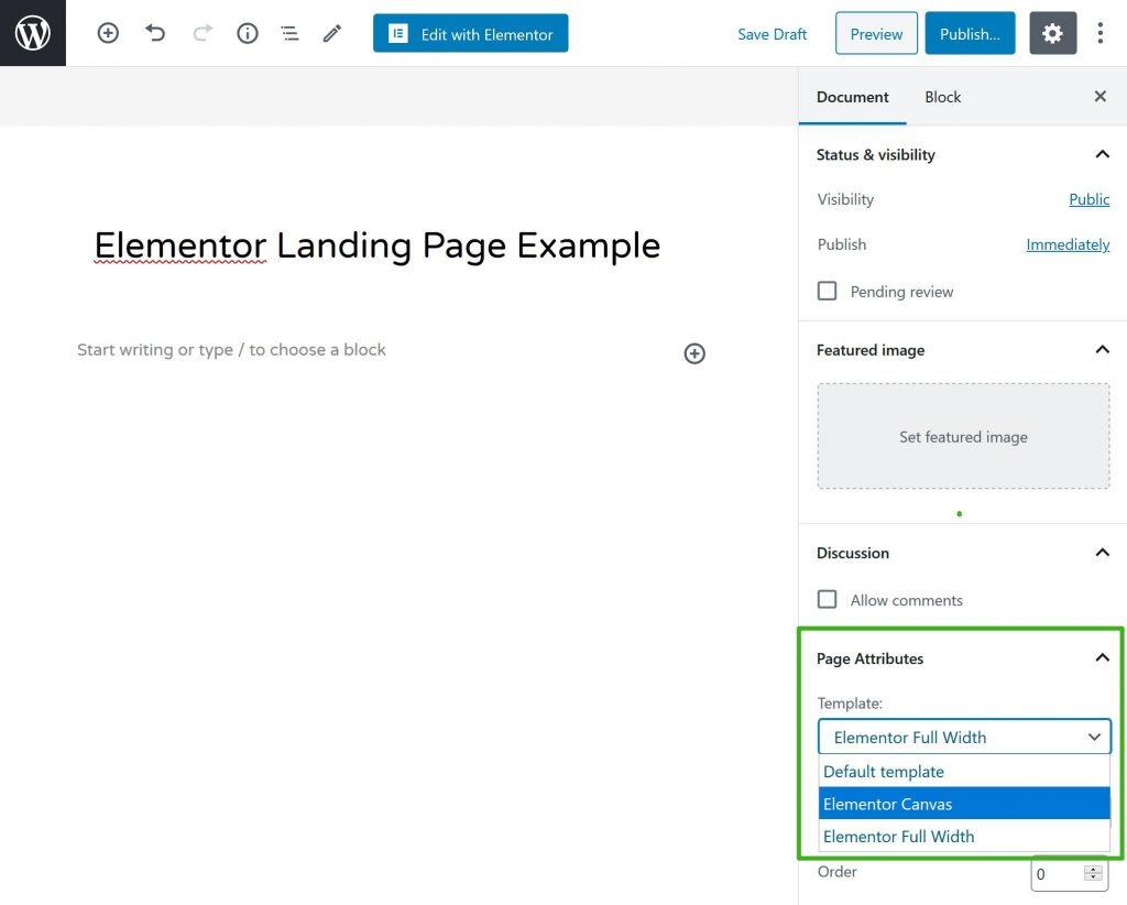 Select Elementor landing page canvas