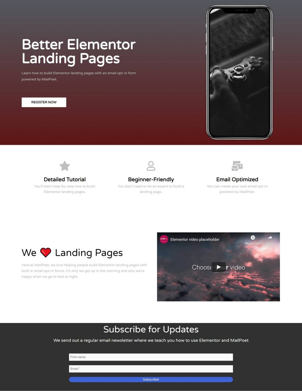 Finished Elementor landing page example