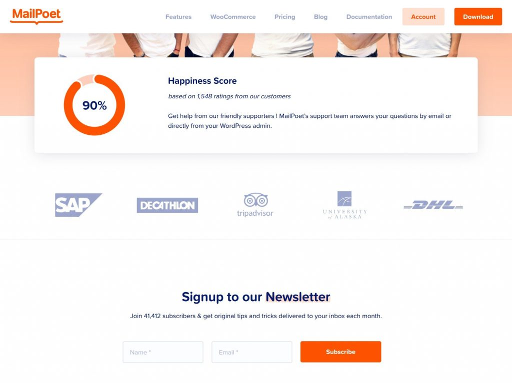 Landing page email opt-in