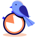 illustration of a bird next to a stopwatch