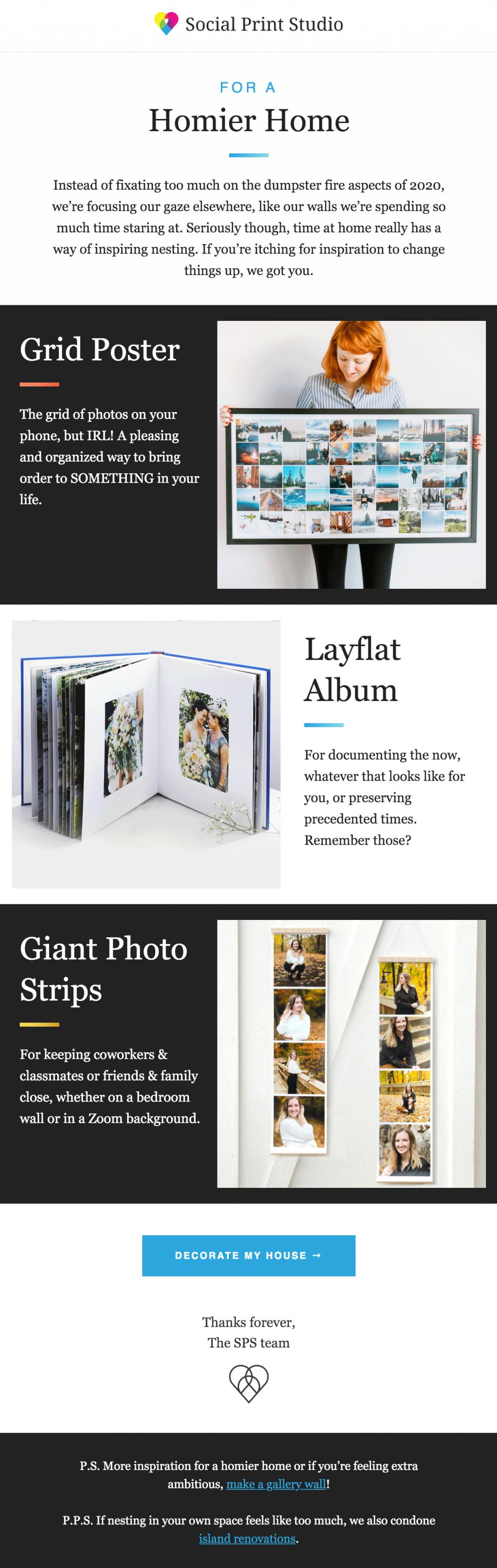 Screenshot of best business email example, Social Print Studio