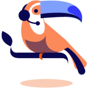 illustration of a toucan wearing a headset