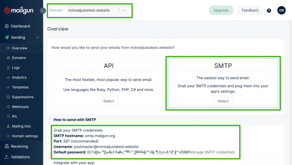 Access Mailgun SMTP credentials for WordPress