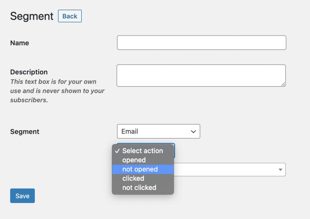 Segmentation in MailPoet.